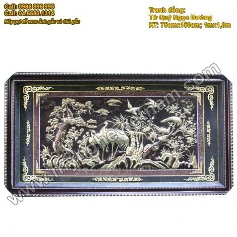 Tranh Đồng - Tứ Quý Ngọc Đường (tùng cúc trúc mai)