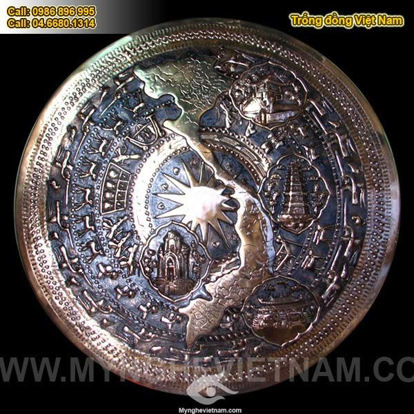 Mặt trống đồng có bản đồ Việt nam, mặt trống đồng đỏ0