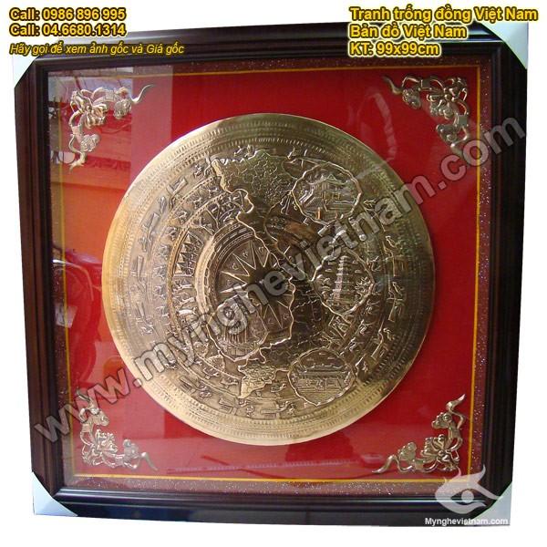 tranh mặt trống đồng bản đồ Việt Nam, mặt trống đồng chạm 4 cảnh0