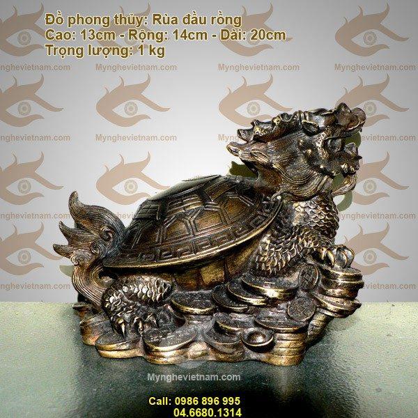 Rùa đầu rồng, rùa phong thủy, rùa đồng, long quy quyền bính, rua dau rong