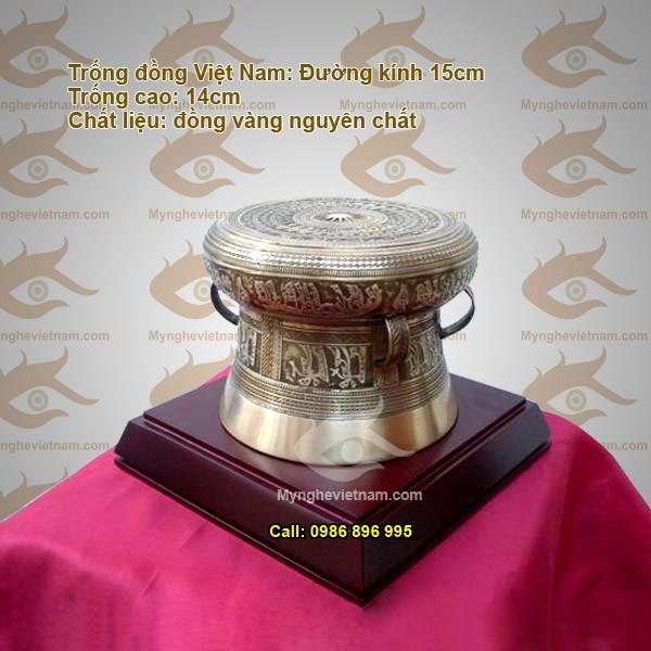 Trống đồng đk 15cm, quà tặng mỹ nghệ văn hóa Việt Nam0