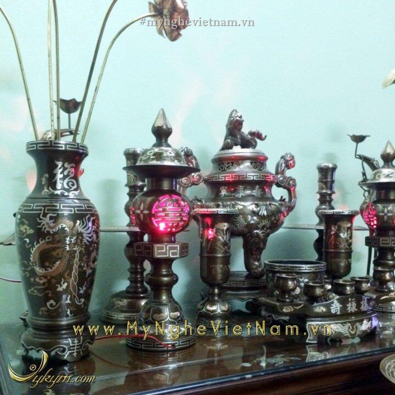 Bộ đỉnh đồng thờ cúng khảm bạc tam khí đầy đủ bày bàn thờ gia tiên