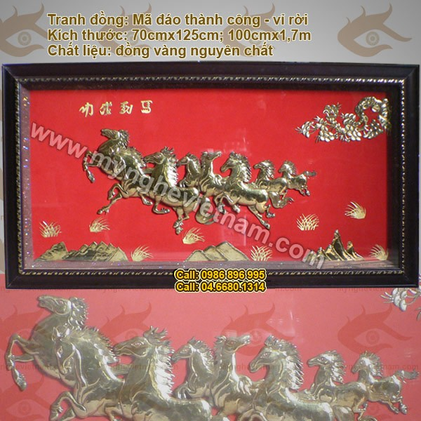 Tranh mã đáo thành công – Bát mã toàn đồ, Tranh Tám Ngựa, Bát Mã, tranh phong thủy, tranh đồng0