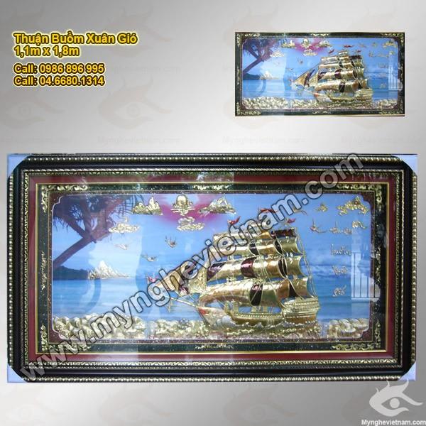 Tranh Thuận buồm xuôi gió - Vỉ rời, nền sơn mài