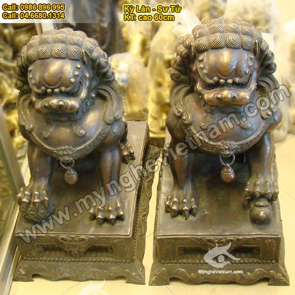 Kỳ Lân sư tử Phong Thủy, Cao 60 CM, có bệ