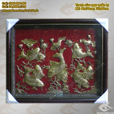 Tranh Cửu Ngư, 9 con cá chép vàng, Tranh đồng phong thủy, vỉ rời nền đỏ