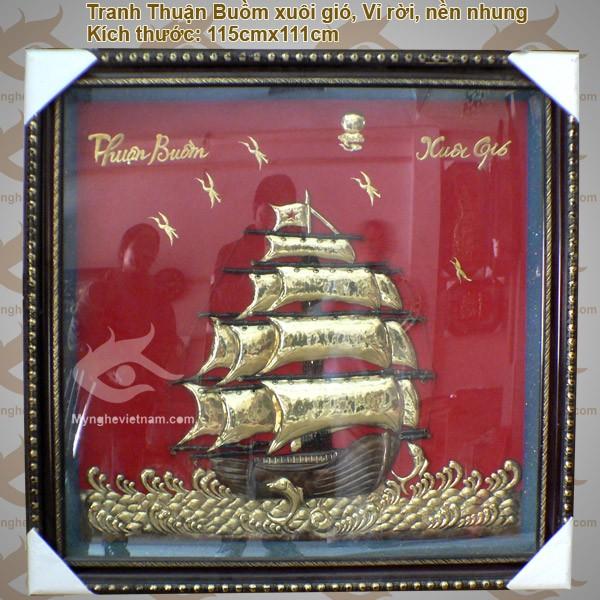 Tranh thuận buồm xuôi gió,Tranh thuyền buồm, Nhất định thuận lợi,Tranh phong Thủy, chất liệu đồng0