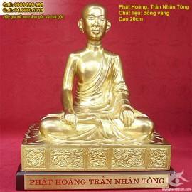 Tượng Trần Nhân Tông - Phật Hoàng Trần Nhân Tông - Chất liệu đồng vàng thanh khiết