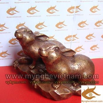 Tượng Thỏ, Thỏ đồng, Tượng Con Thỏ, Tượng đồng con vật, tượng phong thủy, vật phẩm phong thủy