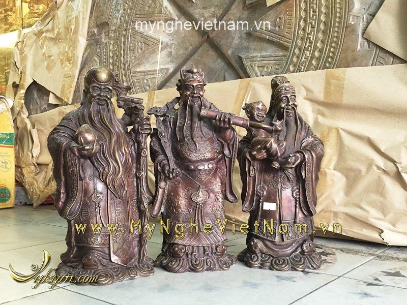 tượng tam đa phúc lộc thọ bằng đồng giả cổ cao 36cm