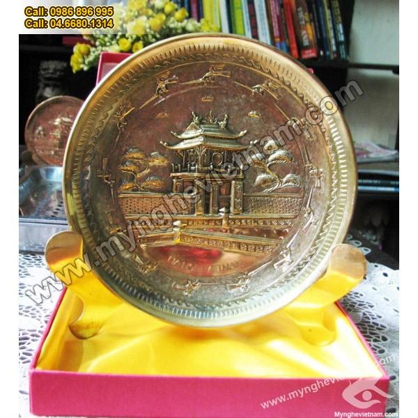 Đĩa đồng quà tặng mỹ nghệ,đĩa chùa 1 cột, đĩa khuê văn các0