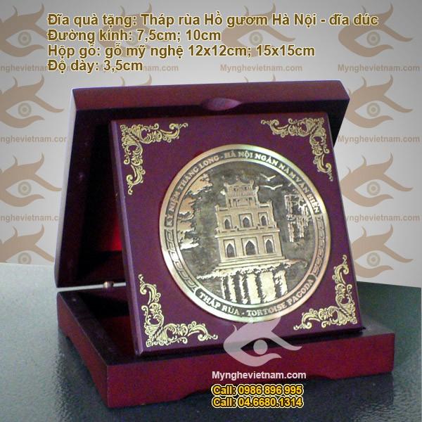 Đĩa đồng Đúc dạng gấp: Tháp Rùa - Quà tặng đối tác cao cấp
