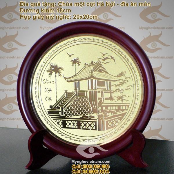 Đĩa đồng Ăn mòn mỹ nghệ: Chùa một cột Hà Nội- Quà tặng đối tác cao cấp