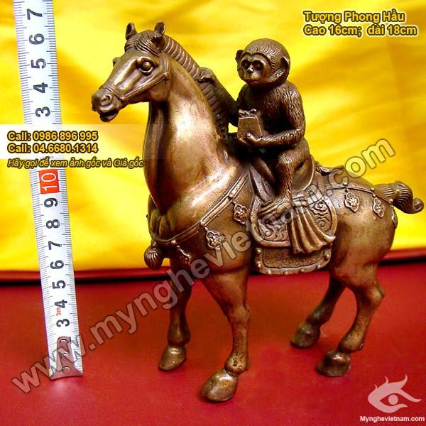 Tượng khỉ cưỡi ngựa cao 16cm ý nghĩa mã thượng phong hầu0