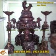 Đỉnh Đồng Song Long đúc nổi, đồ thờ cúng, đồ thờ bằng đồng, cao 36cm
