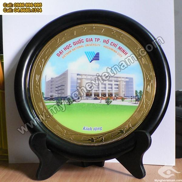 Đĩa ăn mòn, chế tác, khắc theo logo, tên công ty, quà tặng mỹ nghệ, quà tặng lưu niệm, sự kiện, mỹ nghệ đồng