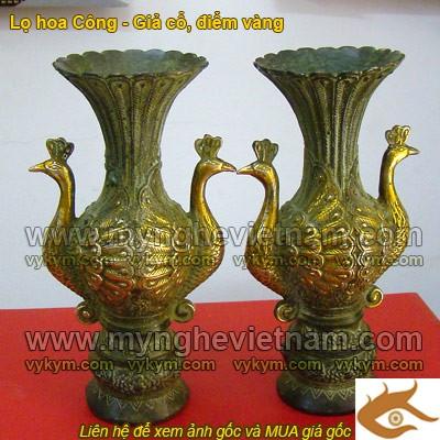 Lọ hoa đồng, Đôi Công, tai công, lọ hoa đồng giả cổ, vật phẩm trang trí cao cấp