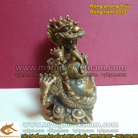 Rồng cuộn hồ lô, Tượng Rồng, Rồng Phong thủy, vật phẩm phong thủy, tượng đồng phong thủy
