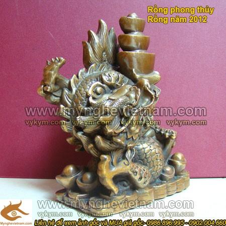 Rồng dâng tiền vàng, Tượng Rồng, Rồng Phong thủy, vật phẩm phong thủy, tượng đồng phong thủy