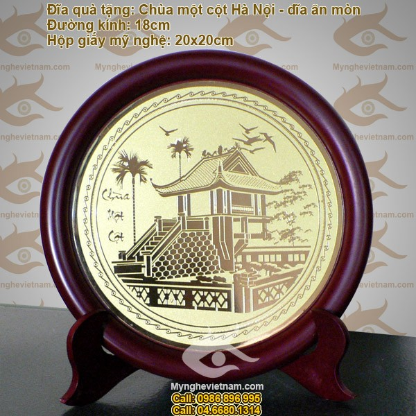 Đĩa đồng Chùa một cột, đĩa đồng ăn mòn - Quà tặng, quà lưu niệm, biểu trưng, kỷ niệm chương