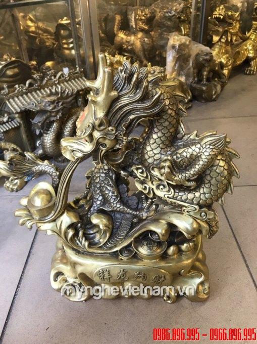 tượng rồng đồng nhả tiền vàng 42cm