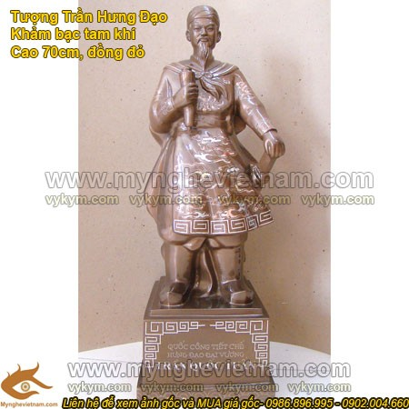 Tượng Trần Hưng Đạo khảm bạc, cao 70cm, tượng đồng tam khí