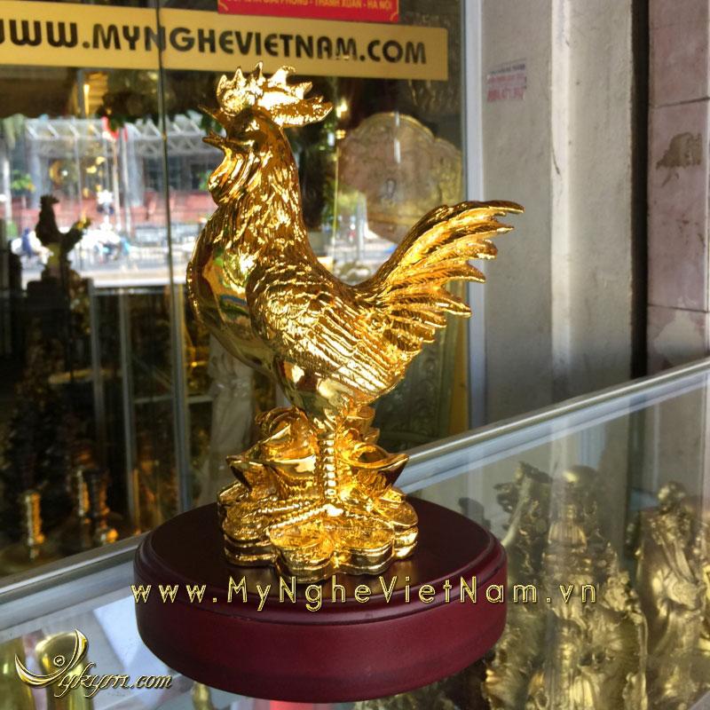 tượng gà đứng tiền mạ vàng cao 23cm