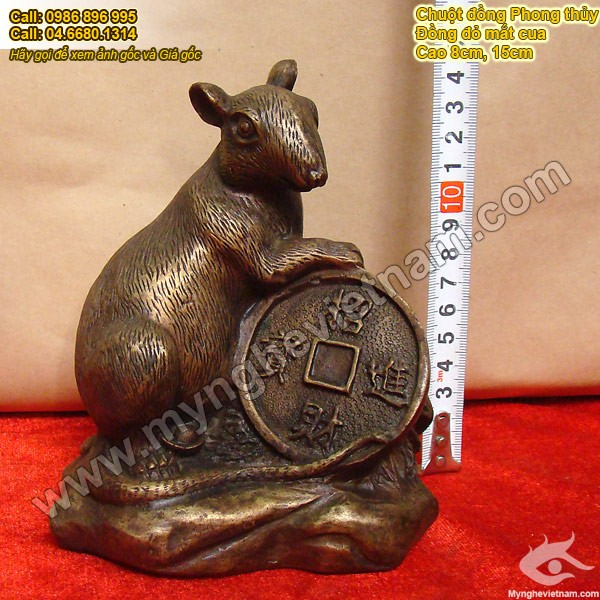 Tượng chuột đồng ôm tiền 15cm con giáp phong thủy Tuổi Tý0