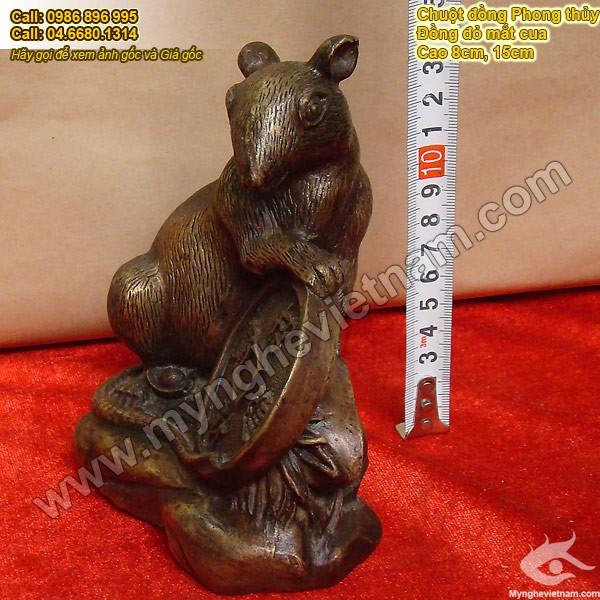 Tượng chuột đồng ôm tiền bằng đồng 15cm để bàn làm việc