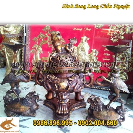 Đỉnh Đồng Song Long đúc nổi, Tam sự cao 50cm, đồ thờ cúng, đồ thờ bằng đồng