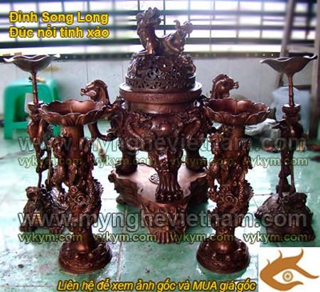 Đỉnh Đồng Song Long đúc nổi, Ngũ sự cao 60cm, đồ thờ cúng, đồ thờ bằng đồng
