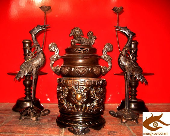 Đỉnh Hoa sòi, đỉnh thờ cúng bằng đồng, cao 50cm, 60cm, 70cm, tam sự, ngũ sự, giả cổ