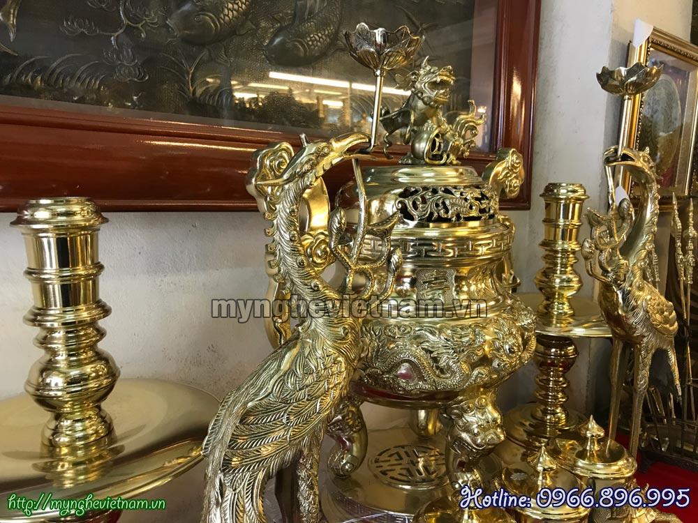 bộ đỉnh đồng thờ cúng song long chầu nguyệt phúc lộc thọ vàng bóng 60cm