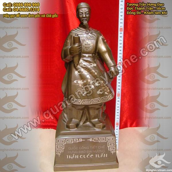 Tượng Trần Hưng Đạo khảm bạc, cao 50cm, tượng đồng tam khí