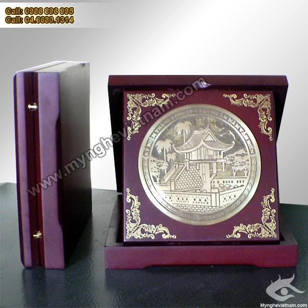 đĩa quà tặng chùa 1 cột, đĩa khuê văn các, đĩa mặt trống đồng0