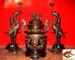 Đỉnh Đồng Hoa Sòi, hun giả cổ, tam sự, ngũ sự cao 50cm