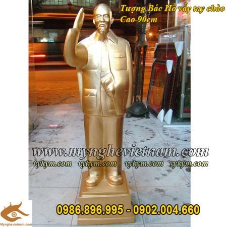 Tượng Bác Hồ vẫy tay chào, cao 90cm, Tượng Bác Hồ, tượng toàn thân, chân dung Bác Hồ bằng đồng