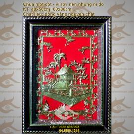 Tranh Chùa 1 Cột 43x55cm, tranh đồng Chùa một cột, quà tặng đối tác, đối ngoại