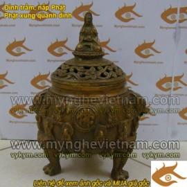 Đỉnh trầm,nắp Phật Bà,Quan Âm,đỉnh xông trầm,đỉnh đồng xông trầm,đỉnh thờ cúng