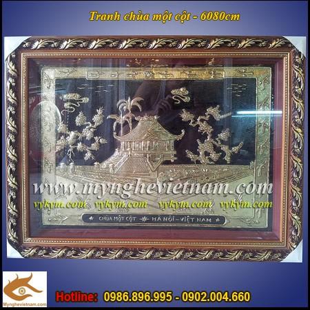Tranh chùa một cột,60x80cm,Chùa 1 cột,tranh quà tặng,quà tặng lưu niệm