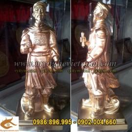 Tượng Đức Thánh Trần, cao 25cm, Tượng Hưng Đạo Vương, cầm kiếm cầm sách bằng đồng, Tượng Đồng phong thủy, quà tặng sếp