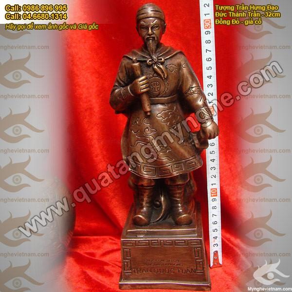 Tượng Đức Thánh Trần Hưng Đạo cao 50cm bằng đồng giả cổ0