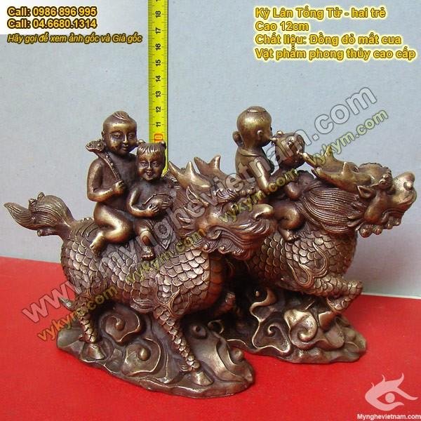 Kỳ lân Tống Tử, hai trẻ cưỡi kỳ lân, cầu con quý tử, Vật phẩm phong thủy, chất liệu đồng