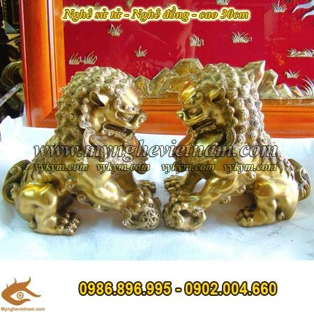 Nghê đồng phong thủy ngồi đất, nghê sư tử cao 30cm0