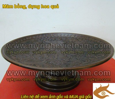 Mâm bồng hun đen, mâm ngũ quả bày bàn thờ bằng đồng 30cm0