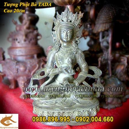 Tượng Phật bà Mật Tông xanh giả cổ cao 20cm0
