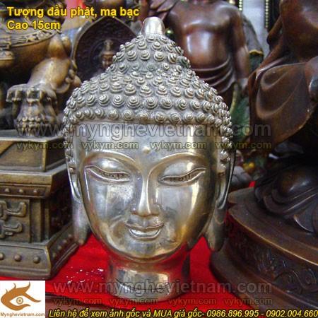 Tượng đầu Phật Tổ mạ bạc,đầu Phật Thích ca Mâu Ni0
