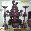 Đỉnh Đồng,Song Long đúc nổi, đồ thờ cúng, đồ thờ bằng đồng, cao 36cm