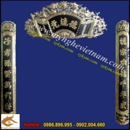 Hoành phi câu đối,cuốn thư song long,đức lưu quang,đồng vàng nguyên chất