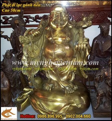 Tượng Phật Di Lạc, gánh vàng,Cao 50cm,Phật di lặc, gánh Tiền, TƯợng thờ cúng, Phật Tổ di lặc